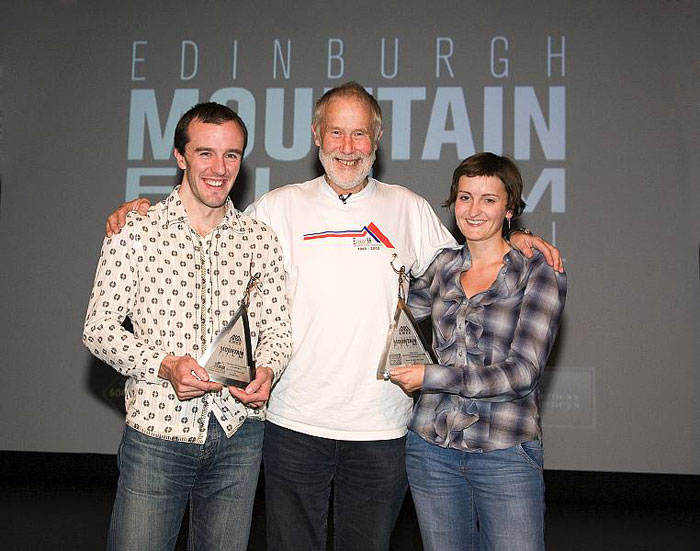 Dave MacLeod , Sir Chris Bonington and Claire MacLeod, 85 kb