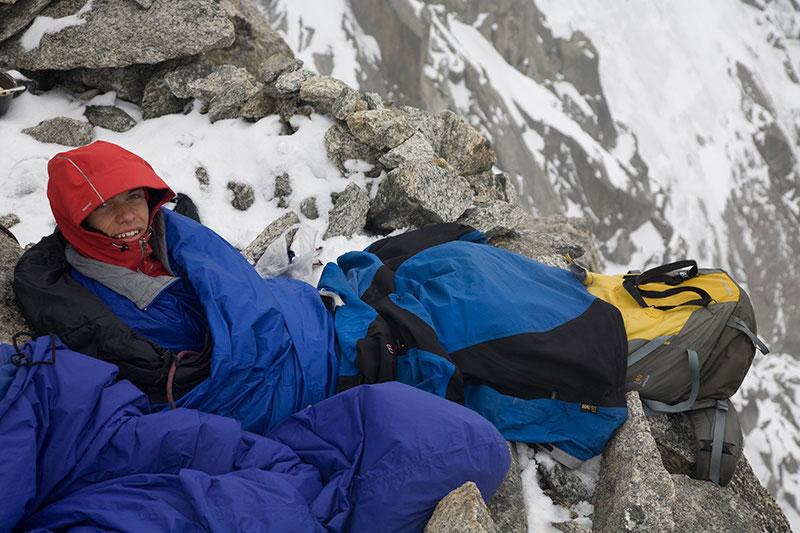 Will Sim bivying on the Grand Montets ridge, 110 kb