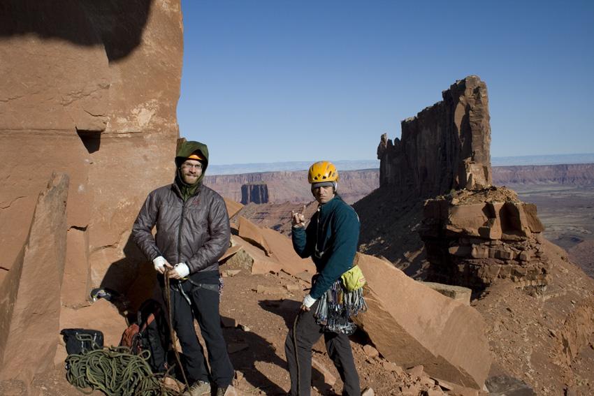 Sean Isaac and Erik Lambert beneath the Castleton Tower, 183 kb