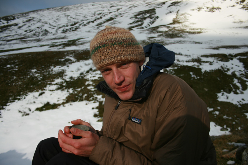 Jack having a cup of tea near the Black Ladders, Carneddau, 170 kb