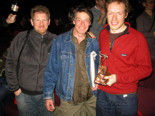 Pip Piper, Andy Parkin and Dom Green. Andy Parkin created all the beautiful sculpture prizes for the winners of the Film comp., 48 kb