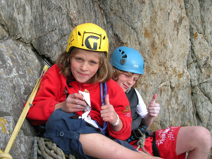 Wizz and Dez Fineron happy on the belay of Rat Race - Gogarth, 207 kb