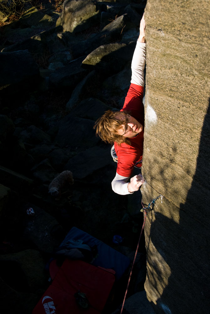 Ben Bransby making the second ground-up ascent (5th overall ascent) of The Promise at Burbage North, 134 kb