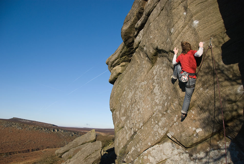 Ben Bransby making the second ground-up ascent (5th overall ascent) of The Promise (E7) at Burbage North, 173 kb
