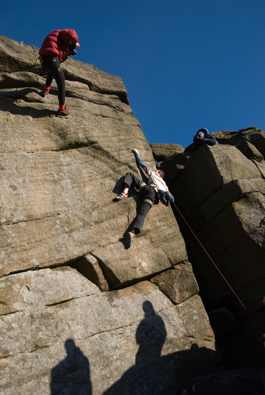 Jack Geldard in the full glare of the media circus on The Promise (E7) at Burbage North, 107 kb