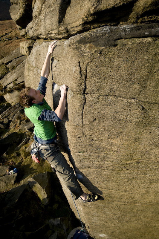 John Roberts accidentally making the first solo ascent of The Promise (E?), Burbage North. , 169 kb