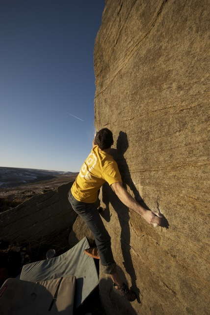 Jordan Buys attempts Lay-by Arete on an amazing December day, 83 kb