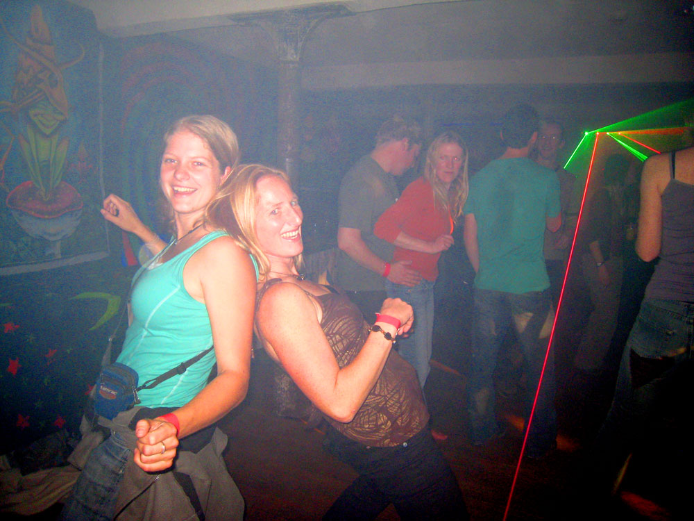 Sarah (left) and a friend disco dancing., 157 kb