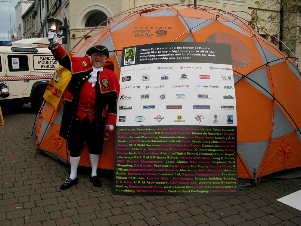 Kendal gets into the swing of things. The town is a big supporter of KMF and climbing., 100 kb
