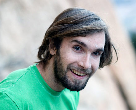Chris Sharma, seemingly quite happy after his on-sight ascent of Paper Mullat (8b+/8c). The beard came off that night!, 32 kb