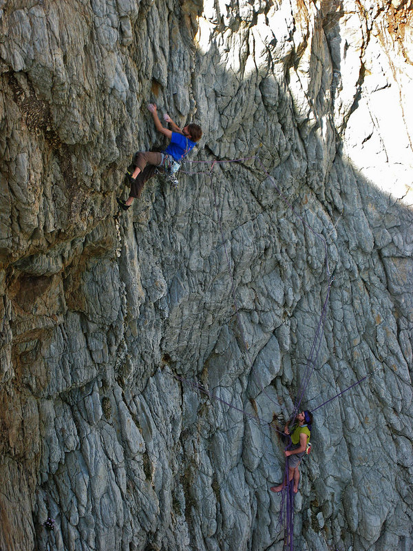 Nico (climbing) and Sean on The Mad Brown, Gogarth, 204 kb