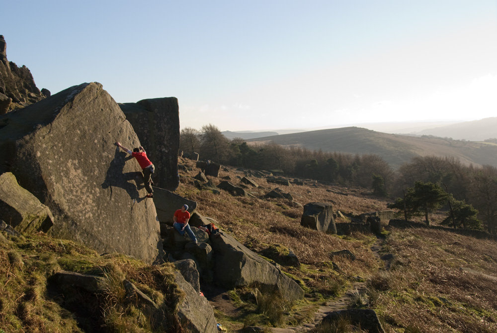 David Noddings and his shadow on Crescent Arete at Stanage, 156 kb