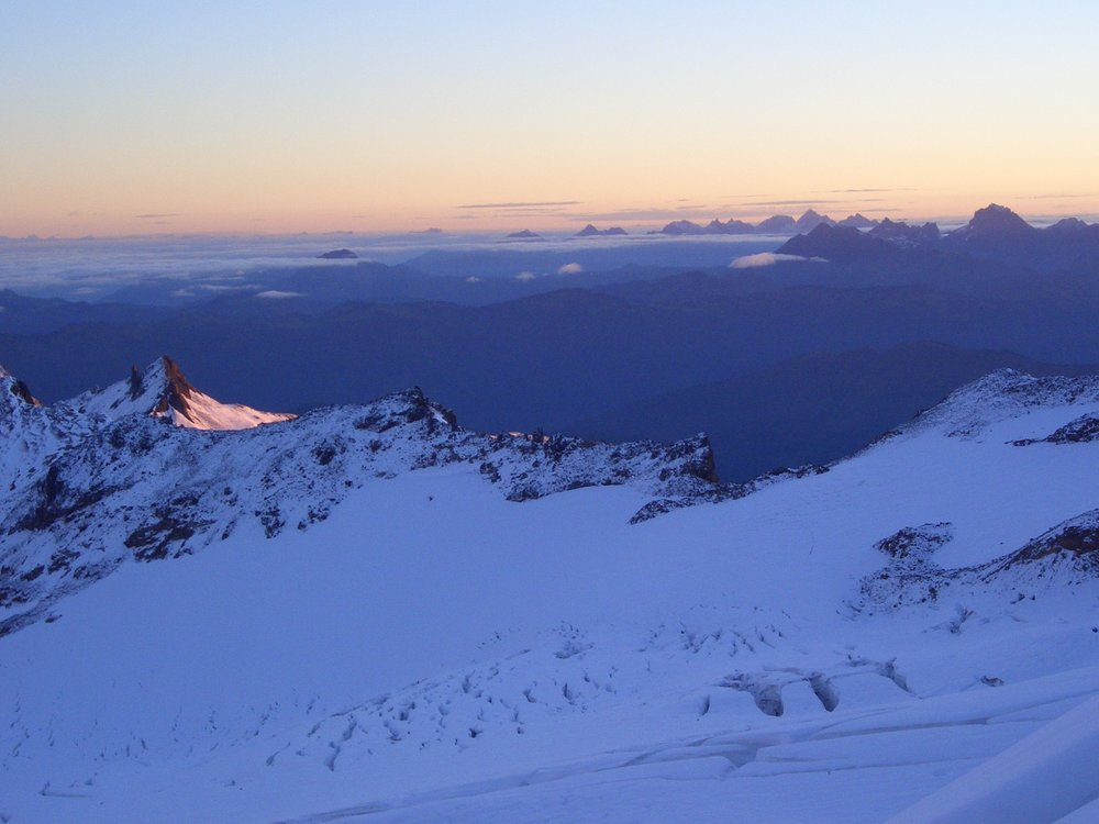 Dawn high on North Ridge, Mt. Baker, Washington, USA, 82 kb