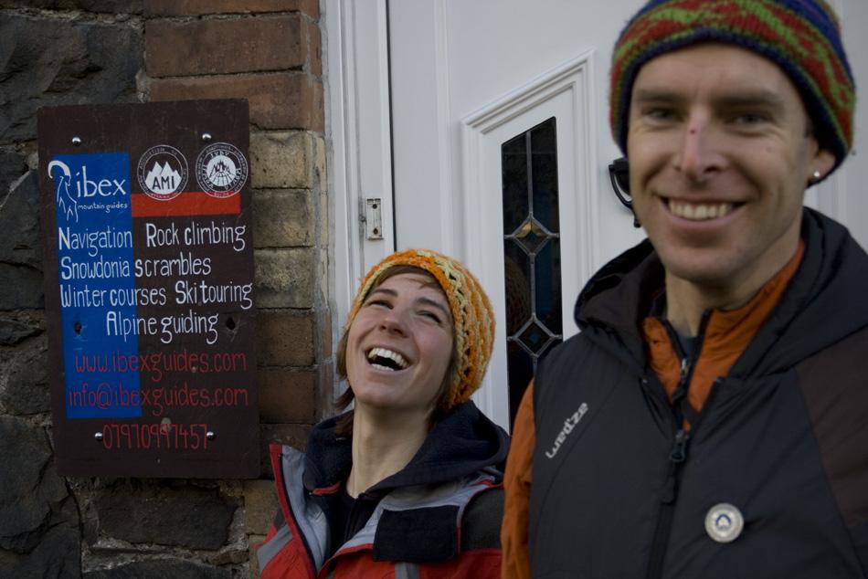 Owen Samuel and Rocio Siemens having fun outside their Llanberis home, 185 kb
