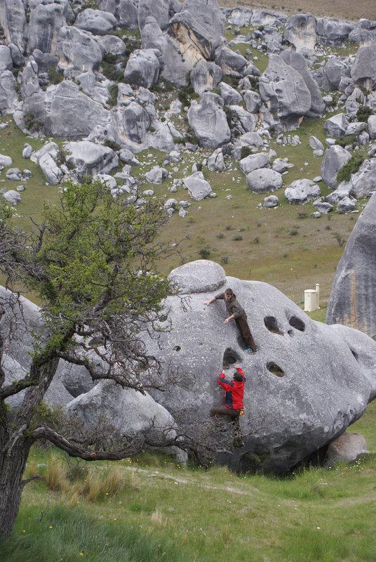 Brandon Copley bouldering at Spittle Hill, 132 kb