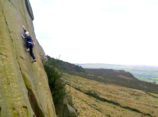 Alastair Robertson on the first repeat of Julian Lines' Judge Jules, E8 7a, Nth Cloud, The Roaches, 52 kb