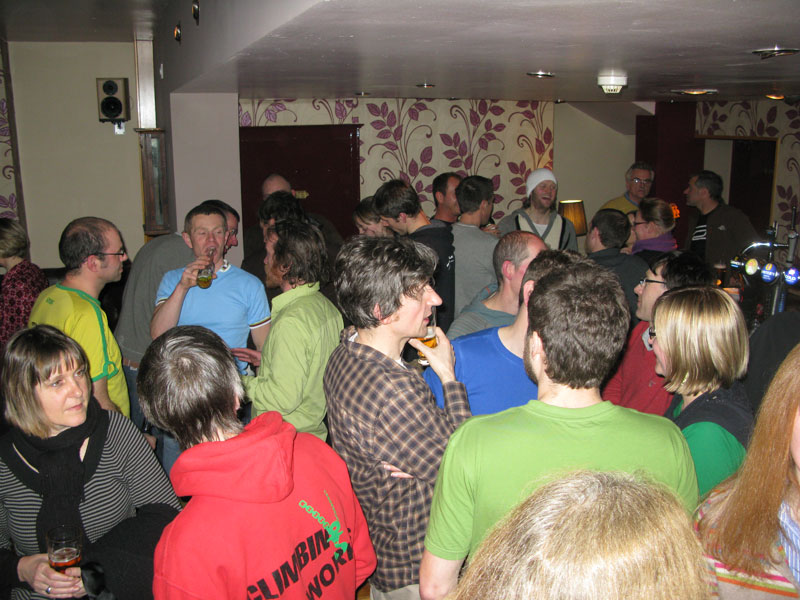 A crowd of climbers in Jerry's pub, The Old Crown on Scotland Road, Sheffield., 115 kb