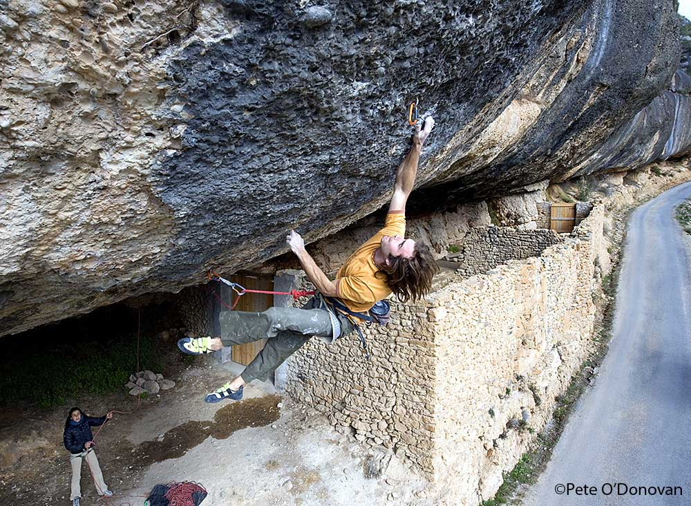 Chris Sharma on the first ascent of Demencia Senil 9a+ at Margalef, Cataluyna, Spain, 182 kb