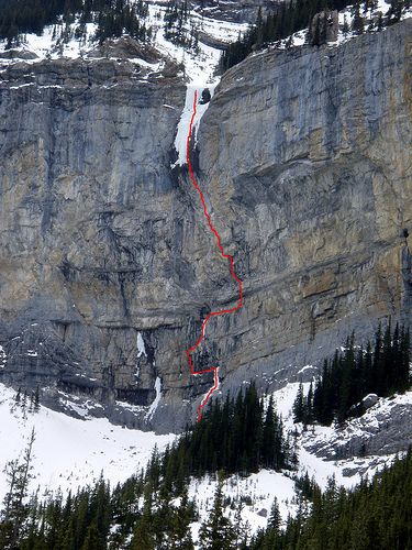 The Jimmy Skid Rig (300m, WI5 M12) on the northeast face of Pigeon Mountain, Alberta., 225 kb