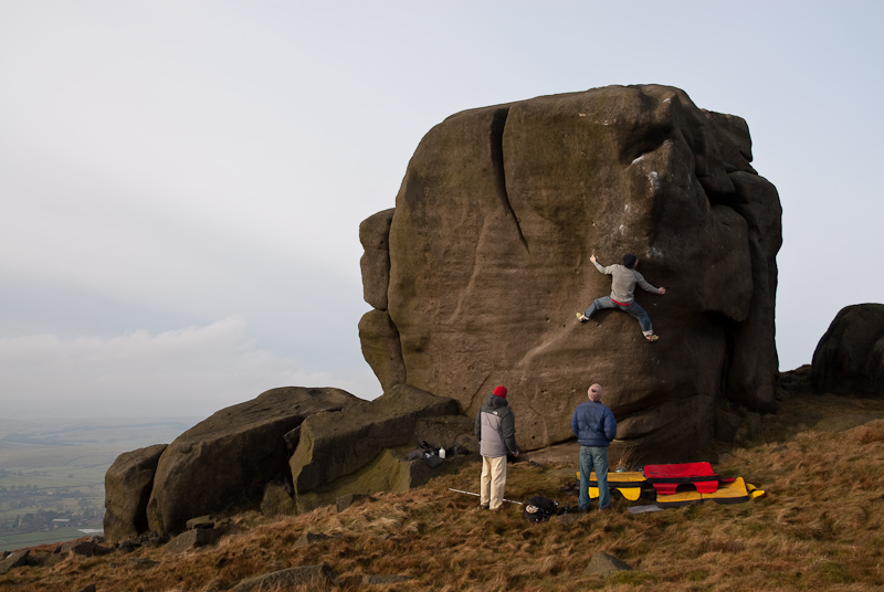 Ben Bransby on his highball at Rylstone, Yorkshire, 177 kb
