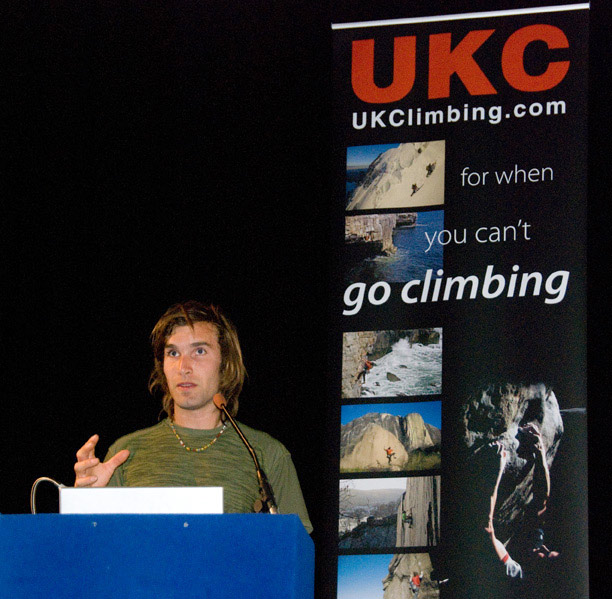 Chris Sharma lecturing at ShAFF 2009, 99 kb