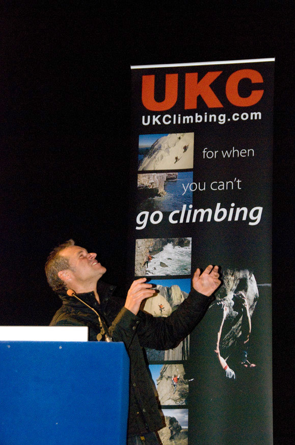 Jerry Moffatt showing his reverence for UKC at ShAFF 2009, 135 kb