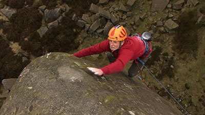 Pete Whittaker on the final move of his new E7 Silent Scream, 25 kb