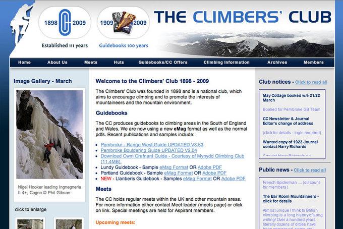 Climbers' Club New Website, 106 kb