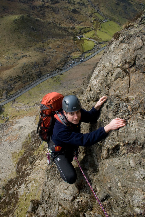 John seconding Spiral Stairs (VDiff), Cromlech, Llanberis Pass.  The start of Spring?, 177 kb