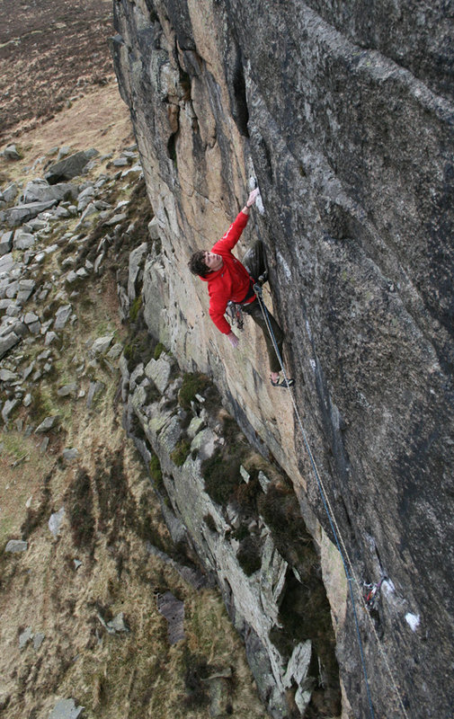 Ricky Bell runout on his new route - Freshly Baked (E7 6b), 153 kb
