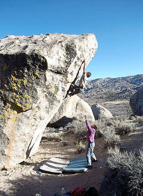 Tim Clifford on The Mandala V12, The Peabody Boulders, The Buttermilk Country, Bishop, CA, 94 kb