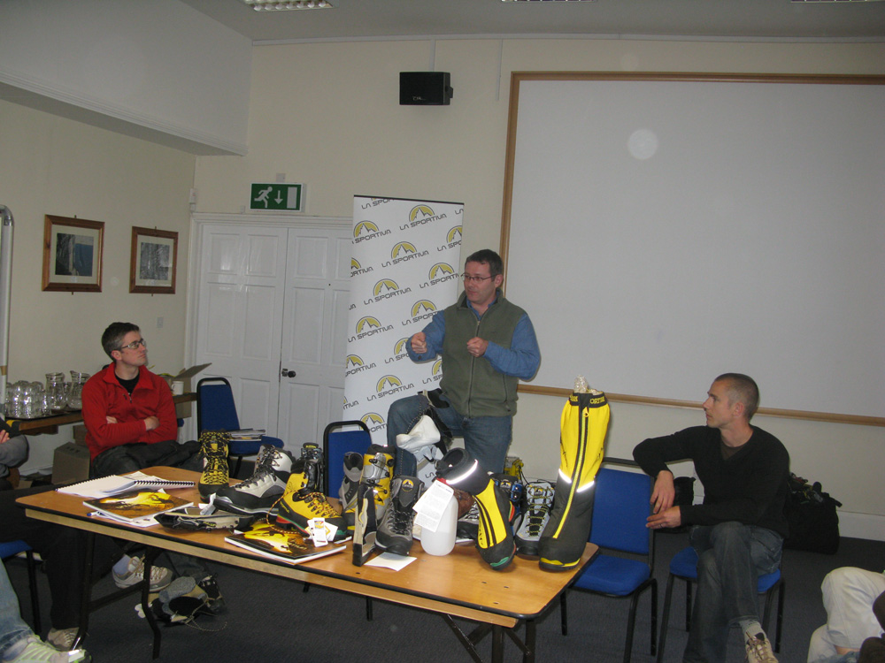 Paul Cornthwaite explaining, quite passionately, what bits of cow hide are used to make La Sportiva mountain boots, 216 kb