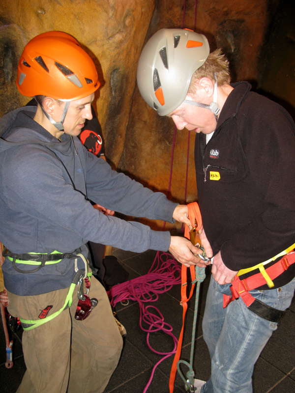 Steve McClure leading a practical demonstration about various Petzl ascenders and descenders., 197 kb