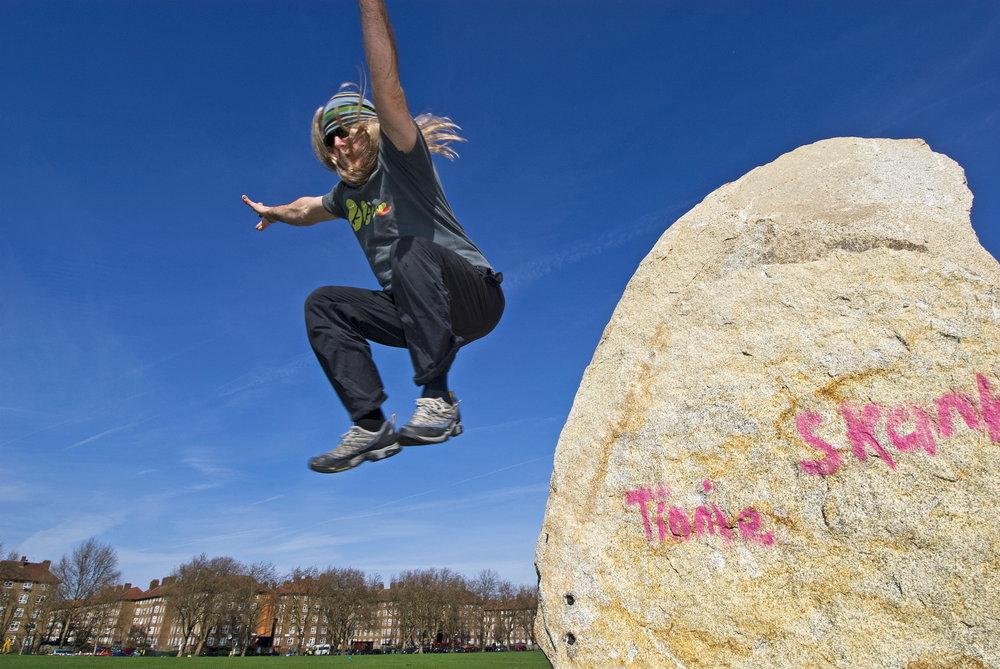 Rad Butts mid flight, celebrating his ascent of Park Front, 144 kb