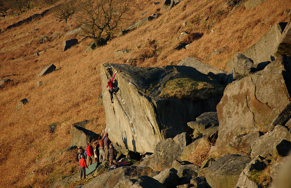 Not To Be Taken Away (V4 or E2), Stanage, 242 kb