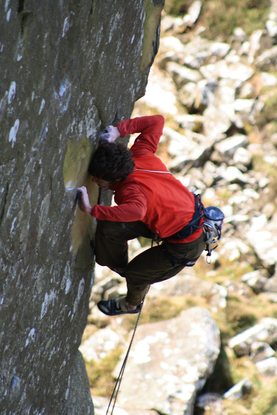 Ricky Bell on the crux of his new route The Big Skin (E8 6c), 194 kb
