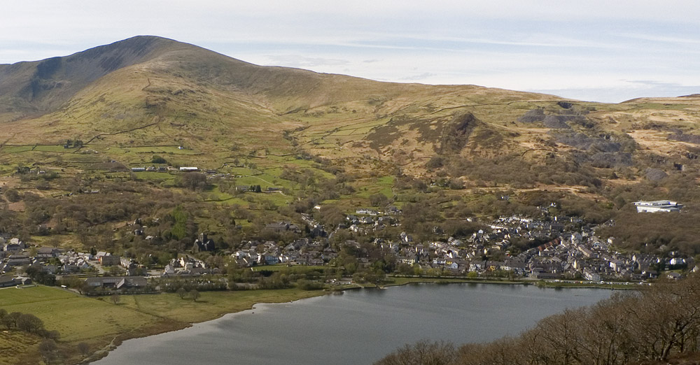 The village of Llanberis, sat below the slopes of Moel Elio. Taken from above Vivian Quarry, 168 kb