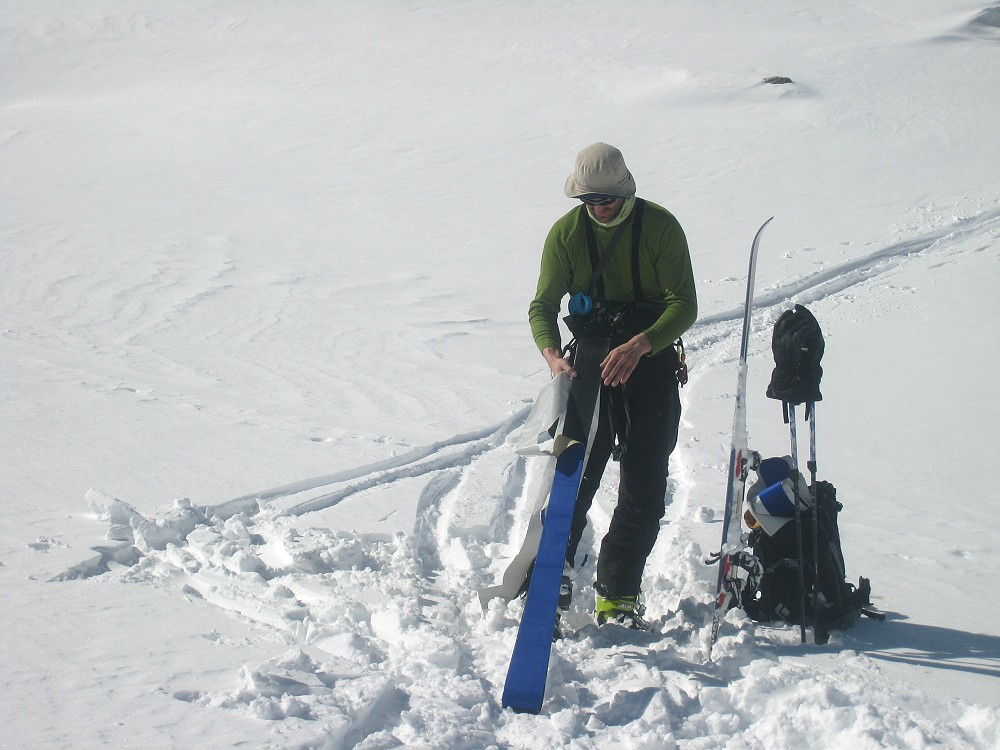 Putting on skins on the Argentiere Glacier, 153 kb