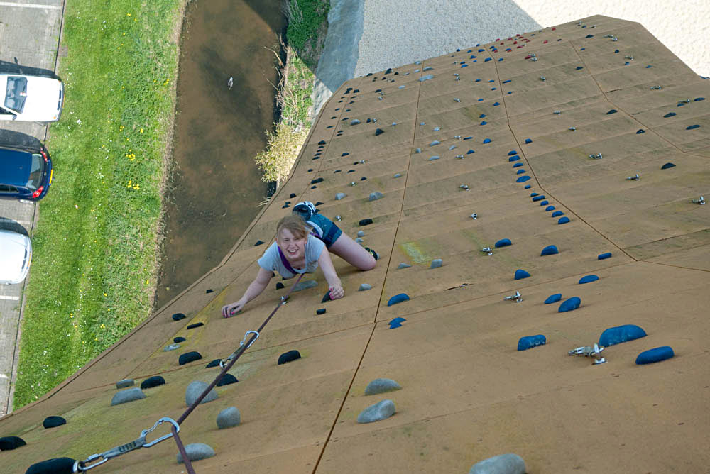Hannah J-L tackling the slabby side of Excalibur at the Bjoeks wall in Groningen, the Netherlands., 120 kb