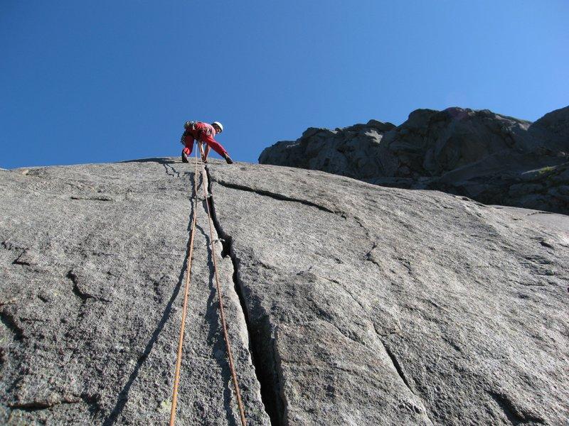 Looking up the peerless granite cracks of Bare blåraer (N5-) Only Bilberries (VS 4b)., 128 kb