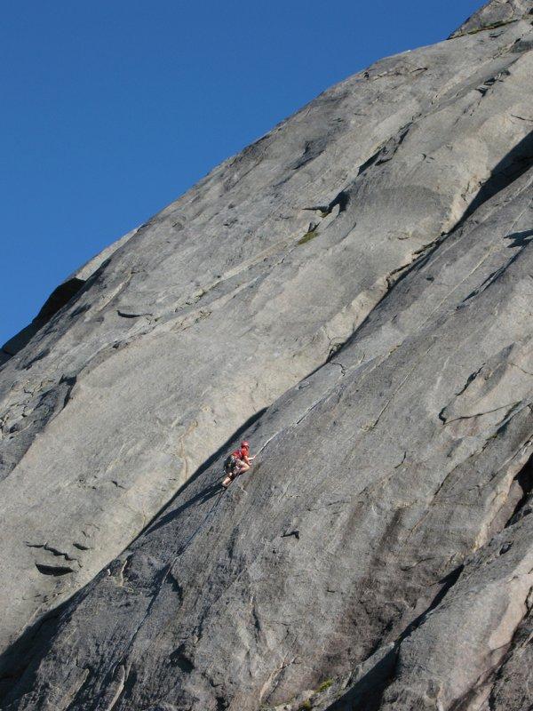 The peerless granite cracks of the hugely popular, seven pitch classic of Bare blåraer (N5-) Only Bilberries (VS 4b), 100 kb