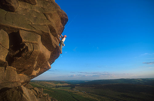 Stefan (past the hard bit) on Flying Buttress Direct (HVS 5b), Stanage, 34 kb