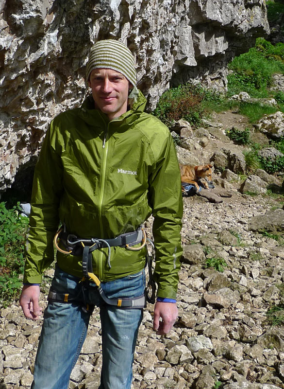 Jack Geldard wearing the Mica Jacket at Trollers Gill, 170 kb
