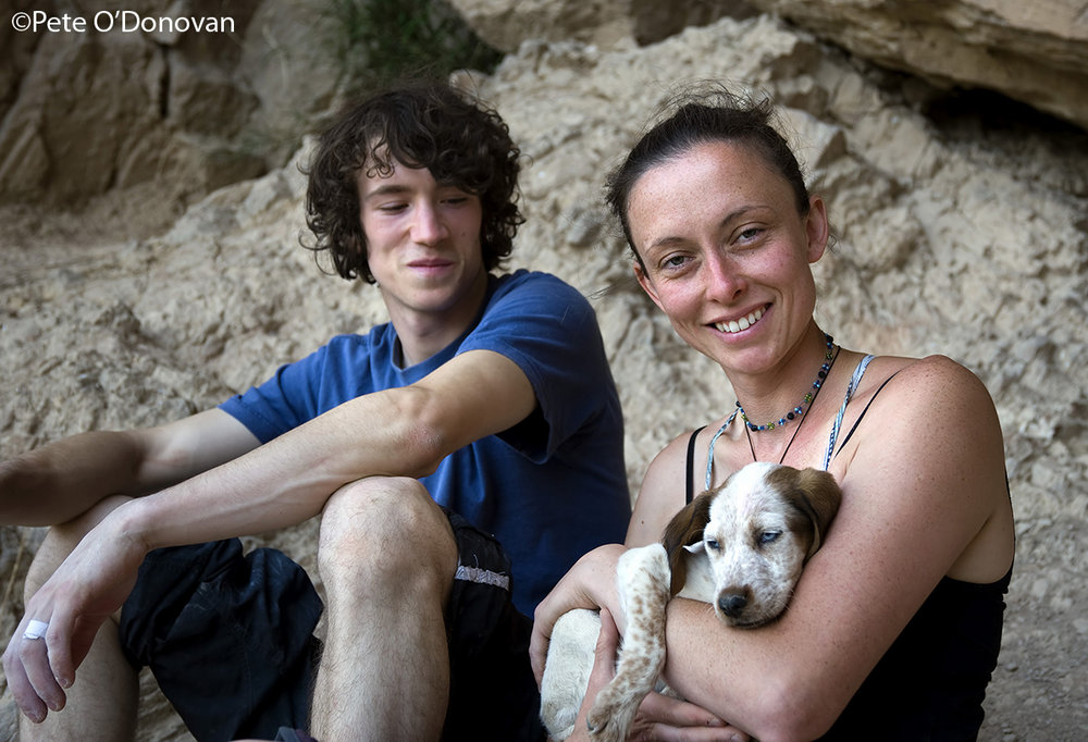 Tom Bolger, Lynne Malcolm and Dillan, one of the three canine rescue centre dogs they've found a home for, 147 kb