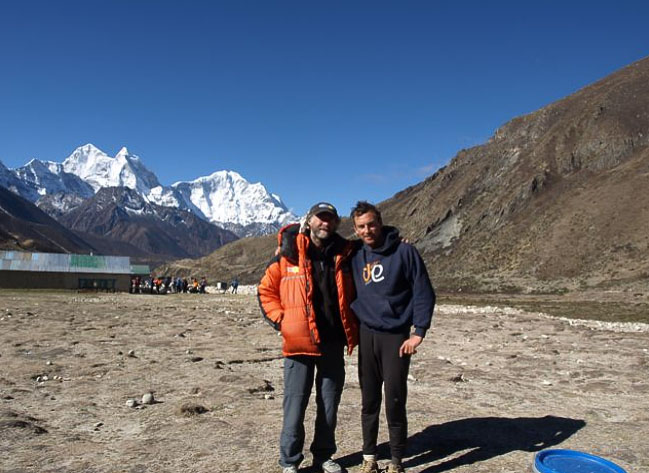 Ran Fiennes and Kenton Cool waiting for a helicopter ride to Kathmandu, 84 kb