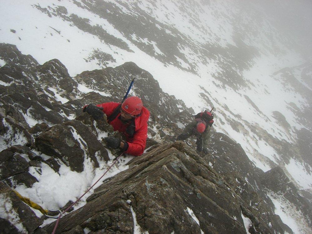 """Arjun on Pinnacle Ridge in a """"light dusting of snow"""", 158 kb"""