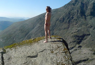 Dave 'Naked Dave' Thornley on the Cioch, Skye, 23 kb