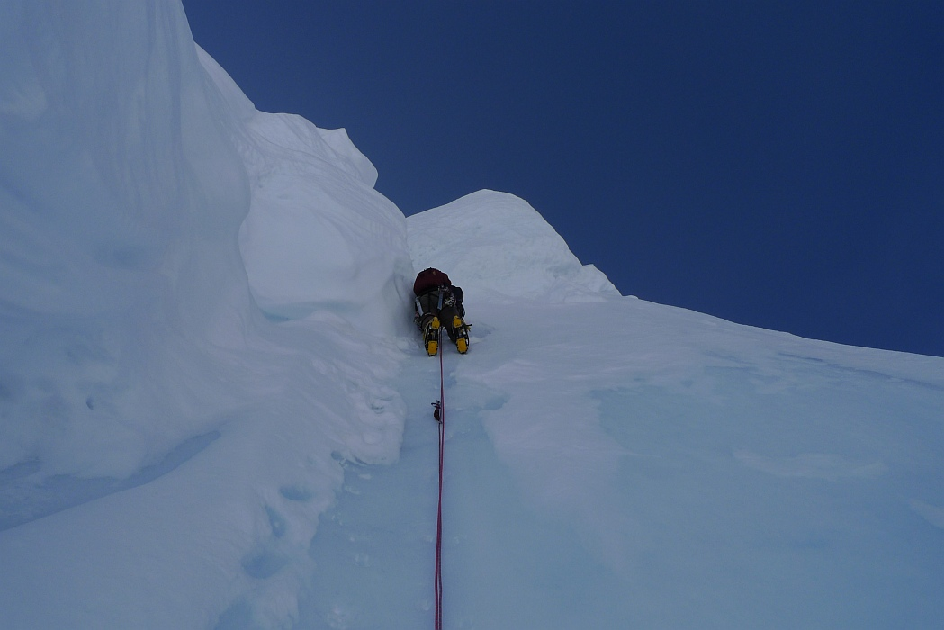 Climbing bullet-hard serac ice at the top of the face on Night of the Raging Goose., 150 kb