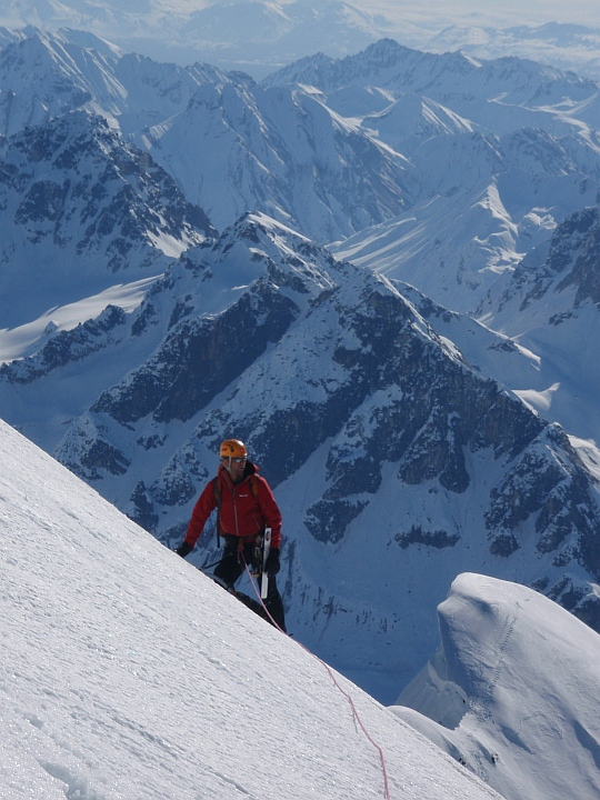 On the summit ridge of Mt Church, with the scene of the cornice incident visible below., 205 kb