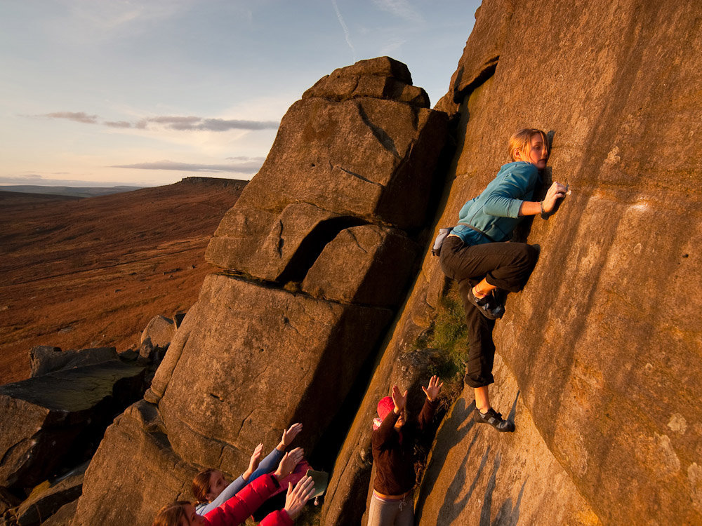 Katy Whittaker and crew on Pressure Drop, font 7b+, Stanage, 225 kb